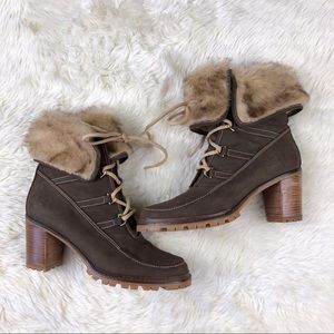 Hunter fur heeled lace boots